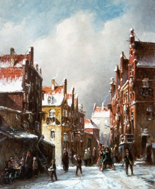 Petrus Gerardus Vertin | A snow-covered town, oil on panel, 21.4 x 17.5 cm, signed l.l. and dated '85
