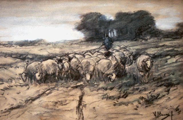 Anton Mauve | A shepherd with his flock, charcoal and pastel on paper, 30.2 x 45.7 cm, signed l.r.