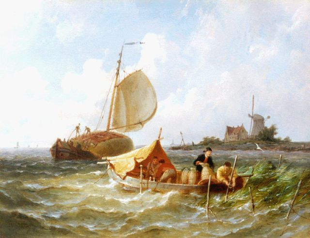 Pieter Cornelis Dommershuijzen | Haybarges on the Zuiderzee, oil on panel, 19.4 x 25.4 cm, signed l.l. and dated '87