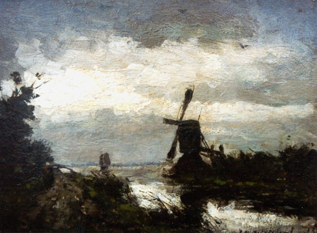 Jan Hendrik Weissenbruch | A landscape with windmill, oil on panel, 18.5 x 24.5 cm, signed l.r.