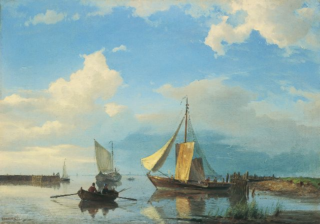 Hermanus Koekkoek jr. | Shipping in an estuary in calm weather, oil on canvas, 42.7 x 60.3 cm, signed l.l. and dated '54