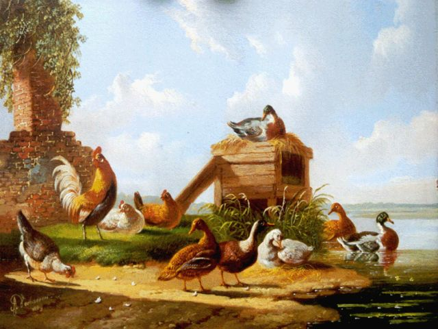 Albertus Verhoesen | Poultry in a classical landscape, oil on panel, 12.9 x 16.9 cm, signed l.l. and dated 1869