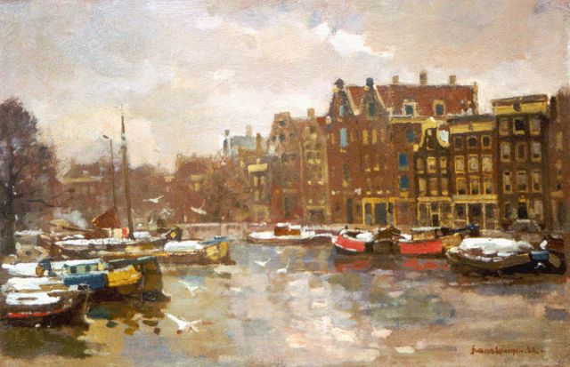 Frans Langeveld | Moored boats, Amsterdam, oil on canvas, 40.5 x 60.5 cm, signed l.r.