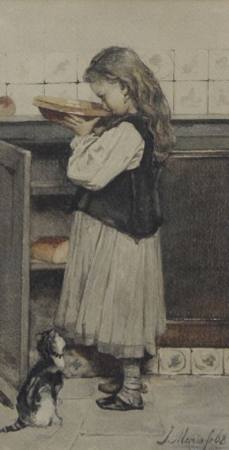Jacob Maris | Have a nibble, watercolour on paper, 28.0 x 14.8 cm, signed l.r. and dated '68