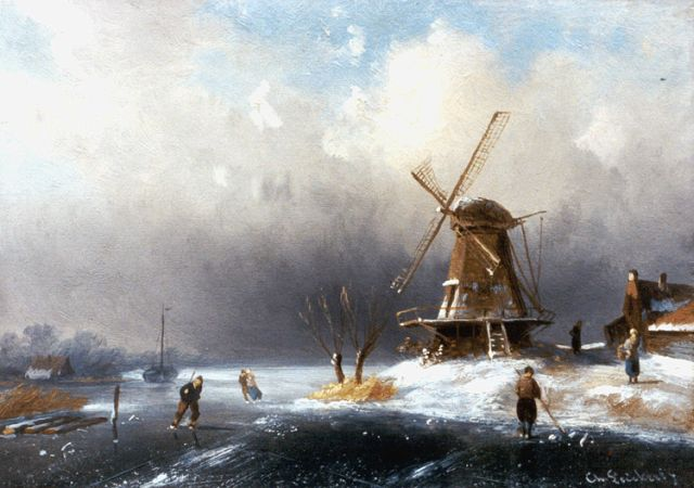 Charles Leickert | A winter landscape with skaters by a windmill, oil on panel, 12.9 x 18.3 cm, signed l.r.
