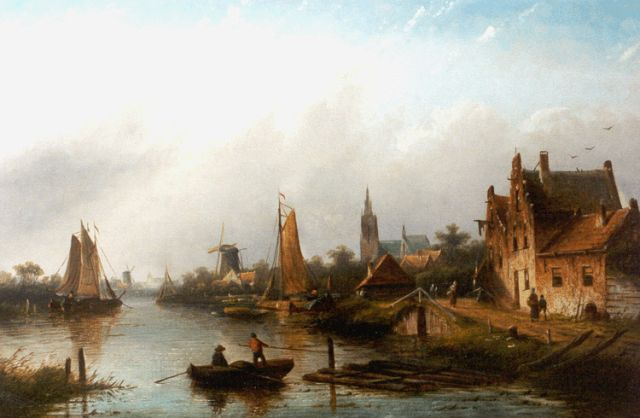 Jacob Jan Coenraad Spohler | A village along a waterway, oil on canvas, 43.5 x 66.4 cm, signed l.r.