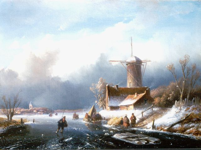 Jan Jacob Spohler | A winter landscape with skaters on the ice, oil on panel, 26.5 x 36.0 cm, signed l.l.