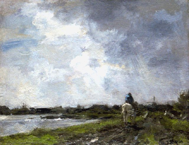 Jacob Maris | Riding horseback, oil on panel, 28.0 x 35.1 cm, signed l.r. and painted in 1894