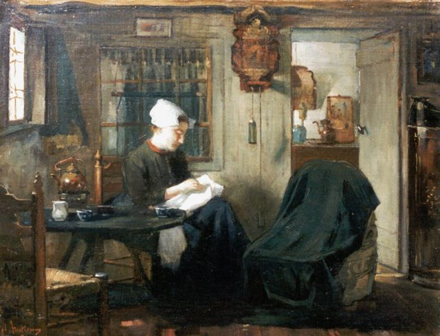 Floris Arntzenius | The seamstress, oil on canvas, 37.2 x 48.0 cm, signed l.l.