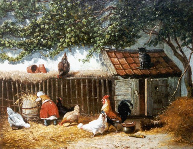 Jan Gerard Smits | Feeding the chickens, oil on panel, 24.7 x 31.4 cm, signed l.r.