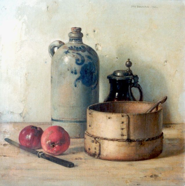 Jan Bogaerts | A still life with strainer, oil on canvas, 50.2 x 50.2 cm, signed u.r. and dated 1941