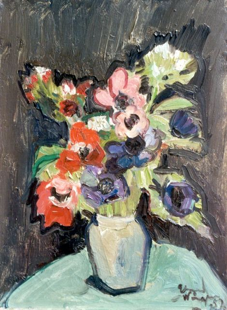 Edmond Wingen | A still life with anemones, oil on canvas, 40.0 x 30.0 cm, signed l.r. and dated '52