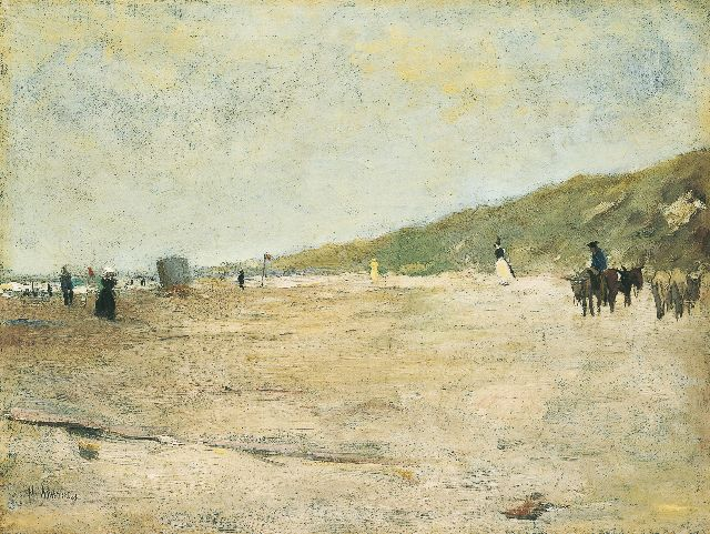 Floris Arntzenius | Beach scene with donkies, oil on canvas, 31.5 x 41.3 cm, signed l.l.