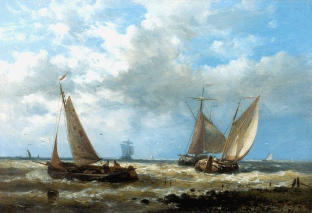 Abraham Hulk | Dutch barges in a stiff breeze, oil on panel, 17.5 x 25.2 cm, signed l.r.