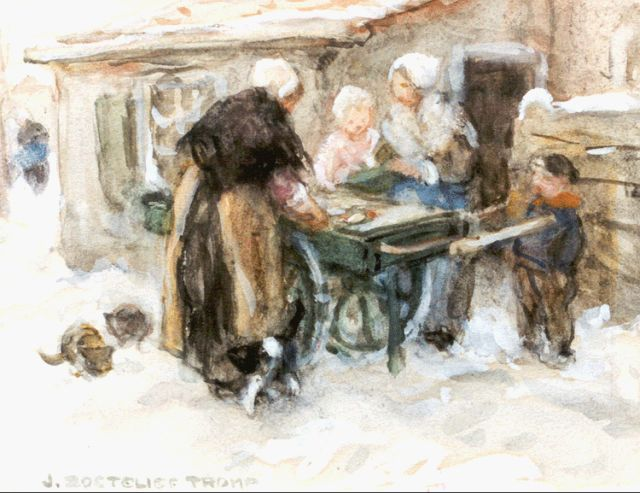 Jan Zoetelief Tromp | Selling fish in winter, watercolour on paper, 14.0 x 18.5 cm, signed l.l.