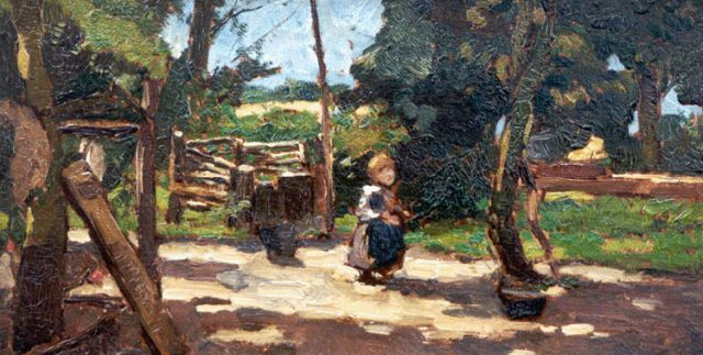 Johannes Evert Hendrik Akkeringa | A little girl on a yard, oil on panel, 15.3 x 29.4 cm