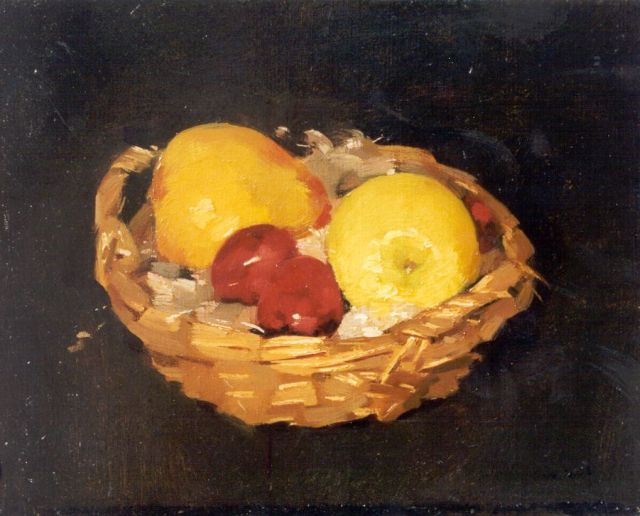 Frits Verdonk | Fruit in a basket, oil on canvas, 24.3 x 30.3 cm, signed l.r.