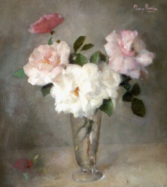 Georg Rueter | Roses in a glass vase, oil on canvas, 45.1 x 41.5 cm, signed u.r.