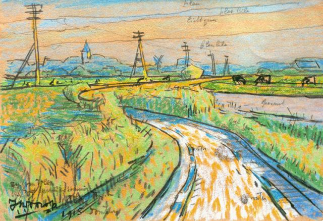 Toorop J.Th.  | A country road, pencil and pastel on paper, 11.3 x 16.7 cm, signed l.l. and dated 1915