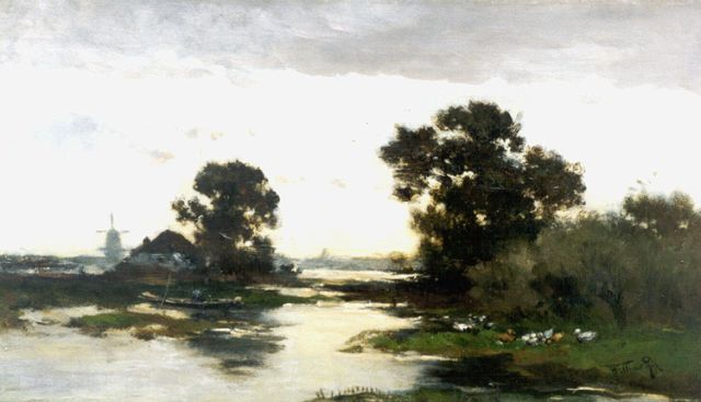 Willem Rip | A polder landscape, oil on canvas, 40.6 x 70.3 cm, signed l.r.