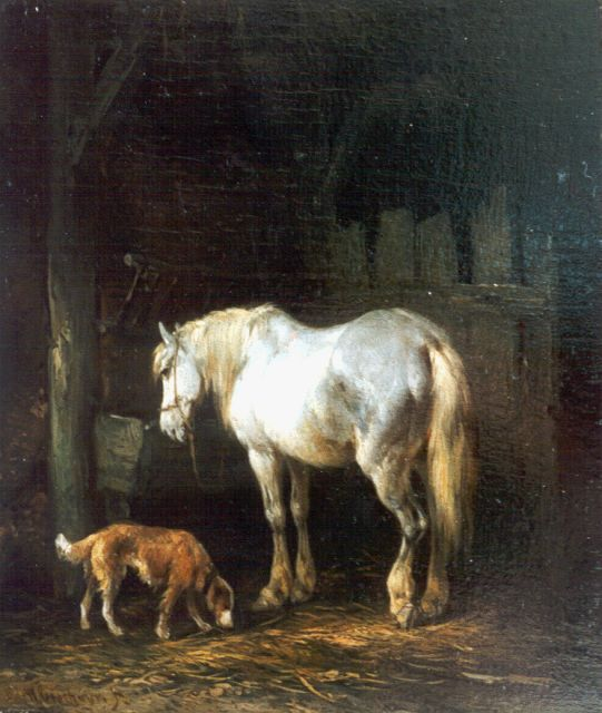 Wouterus Verschuur | Stable mates, oil on panel, 15.7 x 13.3 cm, signed l.l.