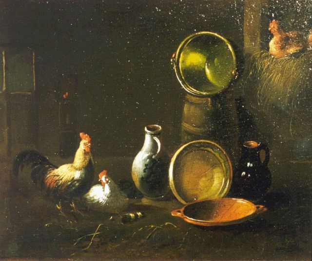 Albertus Verhoesen | Poultry in a stable, oil on panel, 14.0 x 16.6 cm