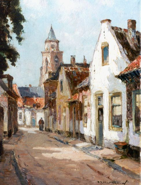 Gerard Delfgaauw | A sunlit street, oil on canvas, 40.1 x 30.4 cm, signed l.r.