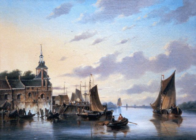 George Henry Hendriks | The river Maas, with 'De Oude Hoofdpoort', Rotterdam, oil on canvas, 42.2 x 55.8 cm