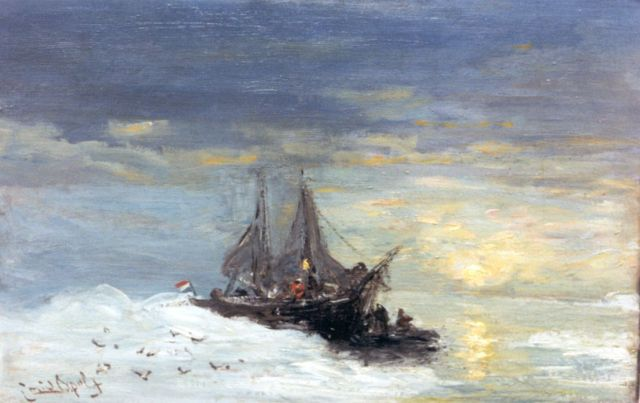 Louis Apol | Shipping by Spitsbergen, oil on canvas laid down on board, 30.5 x 47.5 cm, signed l.l.