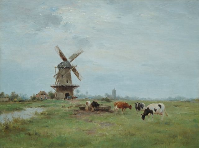 Adrianus Johannes Groenewegen | Polder landscape with a windmill and cattle, oil on canvas, 30.4 x 40.4 cm, signed l.r.
