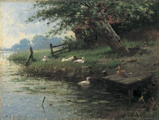 Marinus Adrianus Koekkoek II | Ducks on the riverbank, oil on canvas, 27.4 x 36.7 cm, signed l.l.