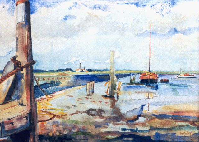 George Martens | Low tide, Schiermonnikoog, watercolour on paper, 27.5 x 38.0 cm, signed l.r. and dated '46