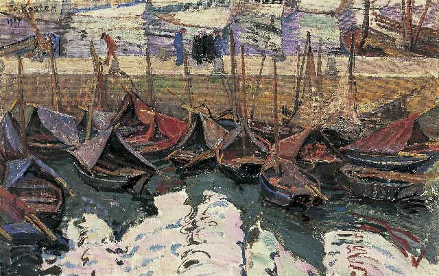 Jo Koster | A Breton harbour scene, oil on canvas laid down on painter's board, 35.5 x 55.3 cm, signed u.l. and dated 1927