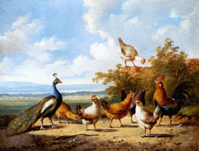 Albertus Verhoesen | A landscape with poultry and a peacock, oil on panel, 14.6 x 19.1 cm, signed l.l. and dated 1879