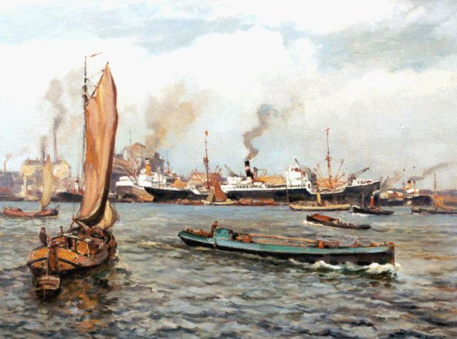 Evert Moll | A harbour view, Rotterdam, oil on canvas, 60.3 x 79.1 cm, signed l.r.