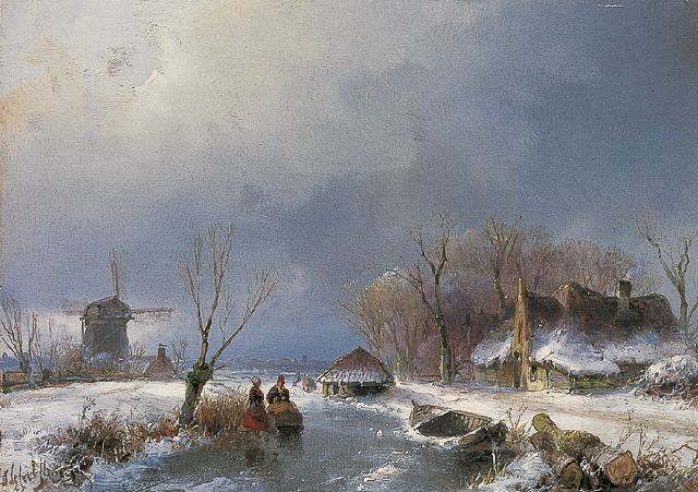 Andreas Schelfhout | A winter landscape with figures on the ice, oil on panel, 14.0 x 19.5 cm, signed l.l. and dated '47