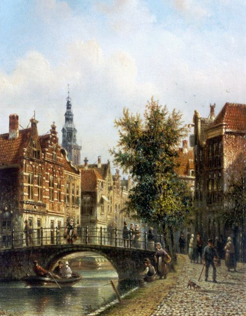 Johannes Franciscus Spohler | View of Amsterdam, with the Oude Kerk in the distance, oil on panel, 20.3 x 15.7 cm, signed l.l.