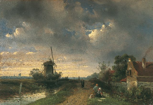 Charles Leickert | Travellers on a path in a river landscape, oil on panel, 17.7 x 25.7 cm, signed l.l.