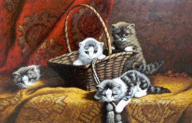 Cornelis Raaphorst | Four kittens at play, oil on canvas, 40.0 x 60.0 cm, signed l.l.