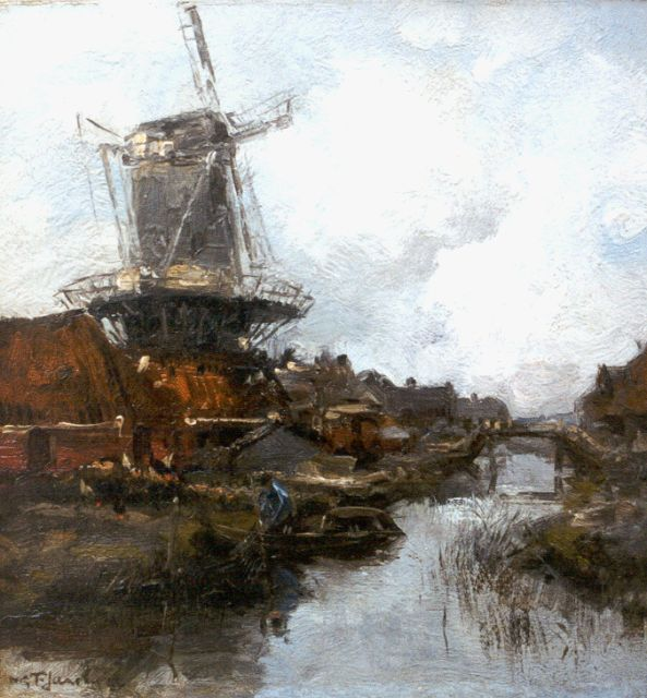 Willem George Frederik Jansen | A windmill in a river landscape, oil on canvas, 31.3 x 29.6 cm, signed l.l. and dated '22