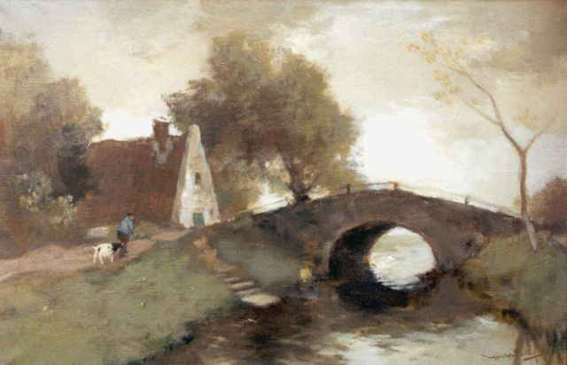 Ype Wenning | A farmer and his goat near an arched bridge, oil on canvas, 39.8 x 60.3 cm, signed l.r.