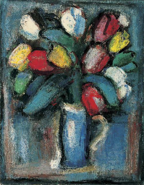 Jaap Nanninga | Tulips in a vase, oil on canvas, 50.5 x 40.5 cm, signed l.r. and painted circa 1946-1948