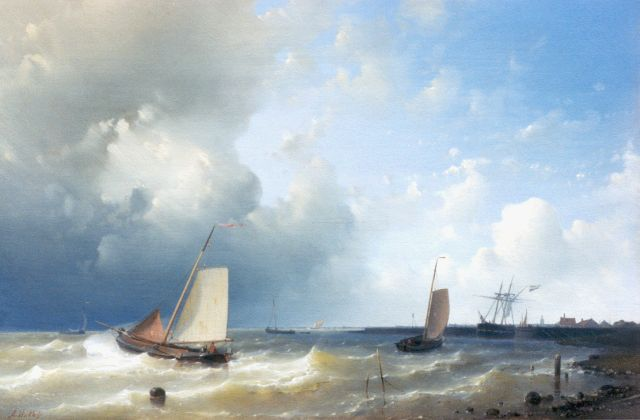 Abraham Hulk | Fishing boats off the coast, oil on panel, 36.5 x 53.5 cm, signed l.l.