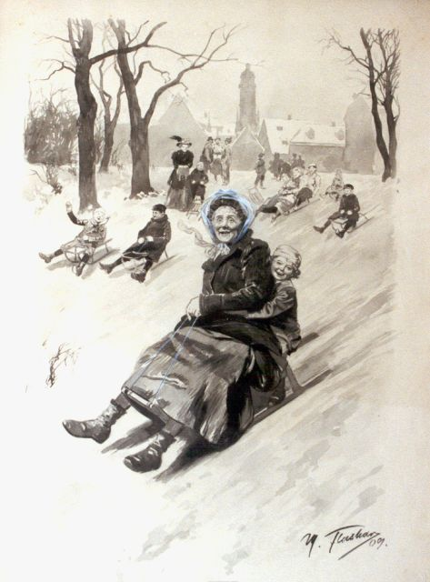 Max Flashar | Sledging downhill, watercolour on paper, 56.0 x 37.5 cm, signed l.r. and dated '09