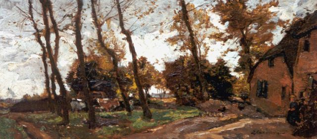 Johannes Evert Hendrik Akkeringa | A farm in autumn, oil on panel, 18.7 x 40.1 cm, signed l.r.