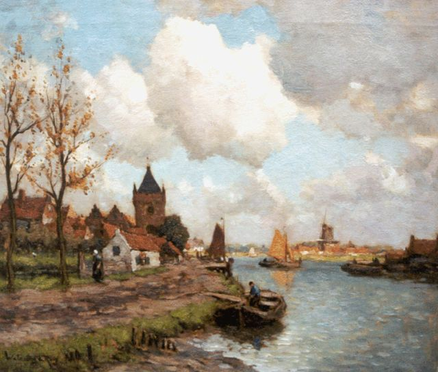 Johannes Embrosius van de Wetering de Rooij | A view of the river Lek, with Vianen beyond, oil on canvas, 50.6 x 60.3 cm, signed l.l.