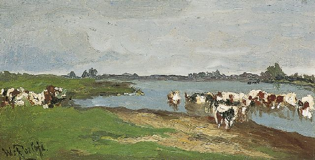 Roelofs W.  | Cows on the riverbank, oil on canvas, 24.0 x 44.2 cm, signed l.l.