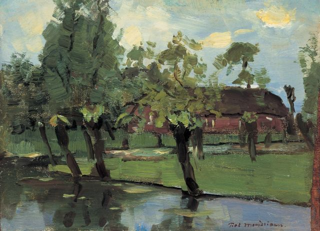 Mondriaan P.C.  | A farm along a waterway, oil on canvas laid down on panel, 23.5 x 32.0 cm, signed l.r. and painted circa 1903