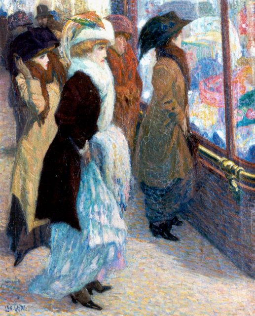 Leo Gestel | The hat shop, oil on canvas, 45.0 x 37.2 cm, signed l.l. and painted circa 1908