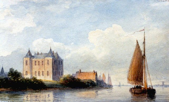 Lodewijk Johannes Kleijn | A view of the river Merwede with Slot Loevestein in the distance, watercolour on paper, 6.3 x 10.3 cm